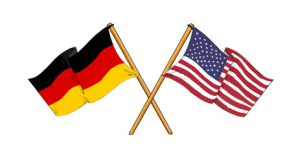 cartoon-like drawings of flags showing friendship between Germany and USA